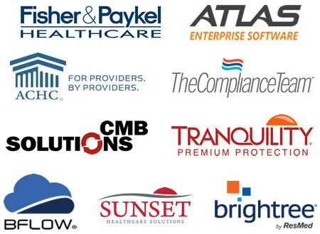 Fisher & Paykel Healthcare, Atlas Enterprise Software, ACHC, The Compliance Team, CMB Solutions, Sunset Healthcare Solutions, Brightree